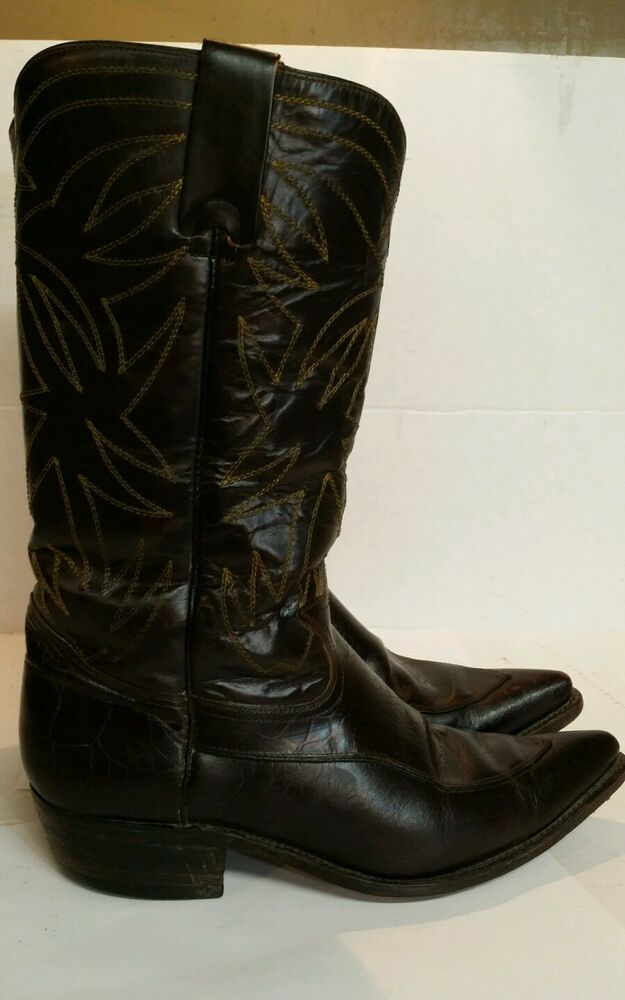 leather cowboy boots black s size 81 2 made in