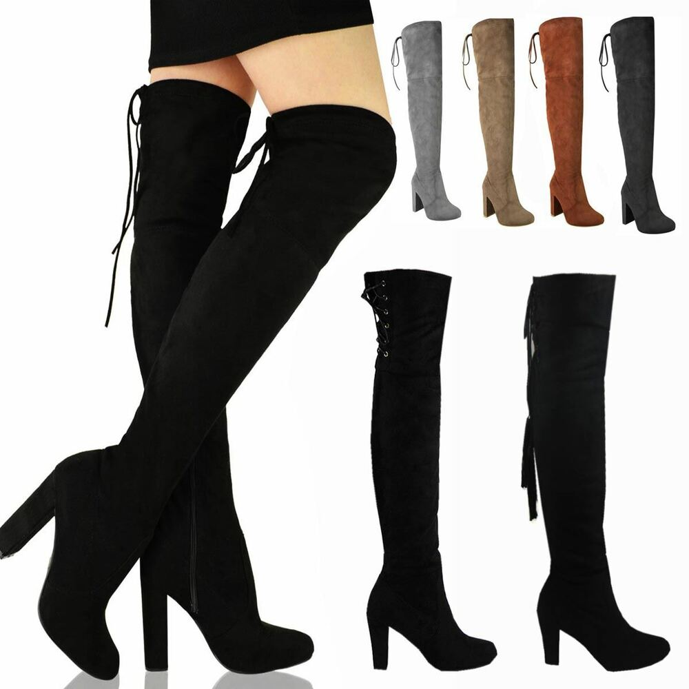 womens thigh high the knee stretch block mid