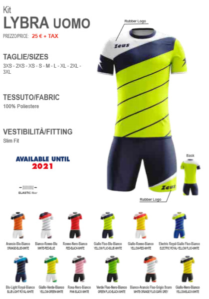 fb0ca0e2e KIT ZEUS LYBRA UOMO m/c CALCIO VOLLEY CALCETTO TRAINING ALLENAMENTO handball