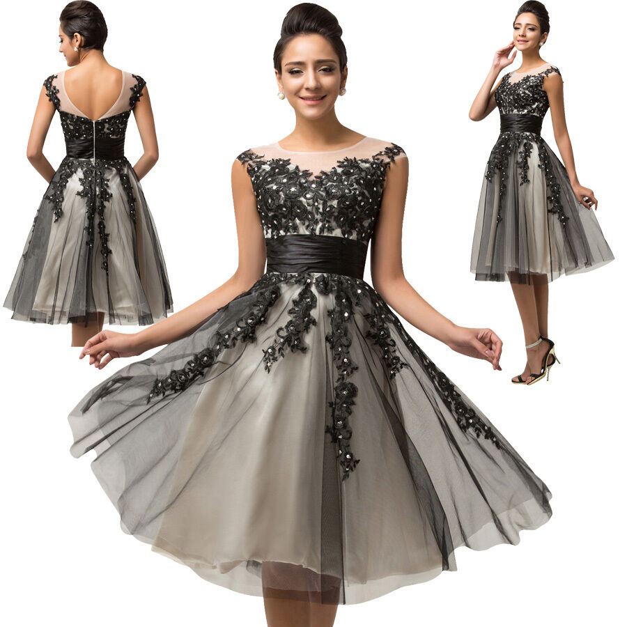 damen kurz spitze kleider abendkleid partykleid brautjungfernkleid ballkleider ebay. Black Bedroom Furniture Sets. Home Design Ideas