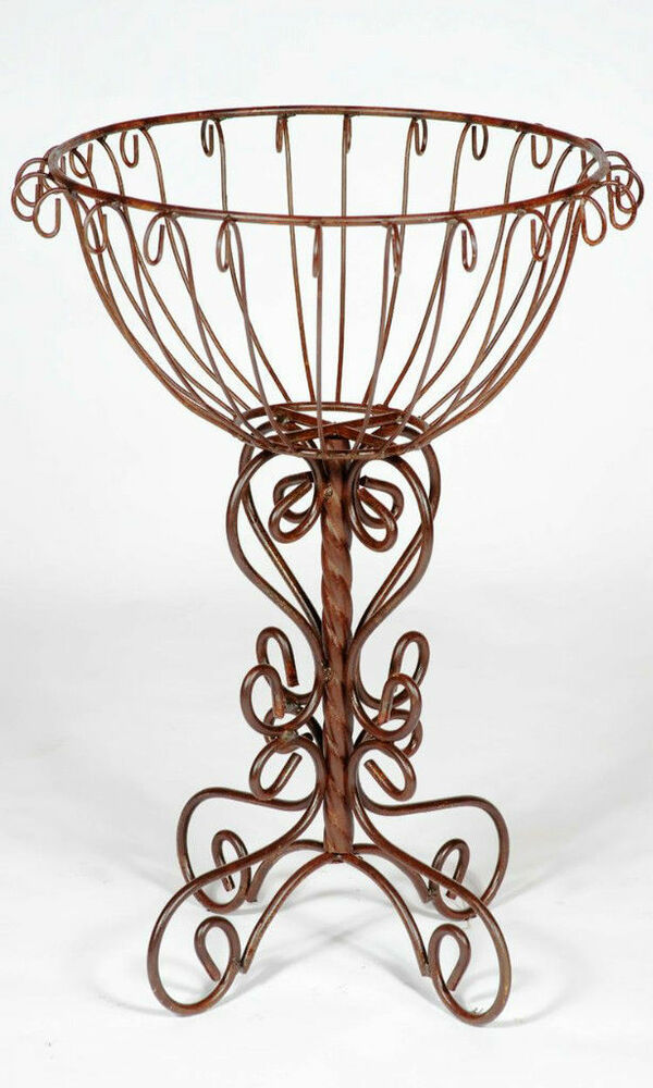 rustic wrought iron trunk colum plant stand metal planters garden plant stand ebay. Black Bedroom Furniture Sets. Home Design Ideas