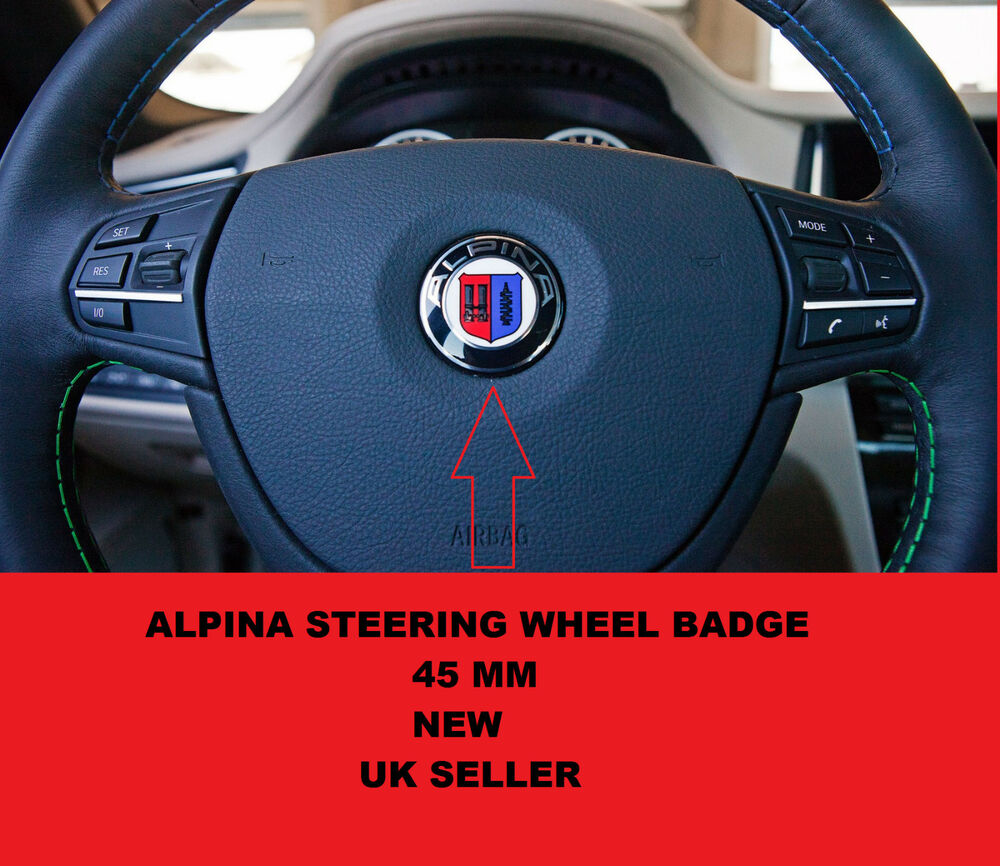 45mm alpina steering wheel badge badge emblem e90 e46 3 5. Black Bedroom Furniture Sets. Home Design Ideas