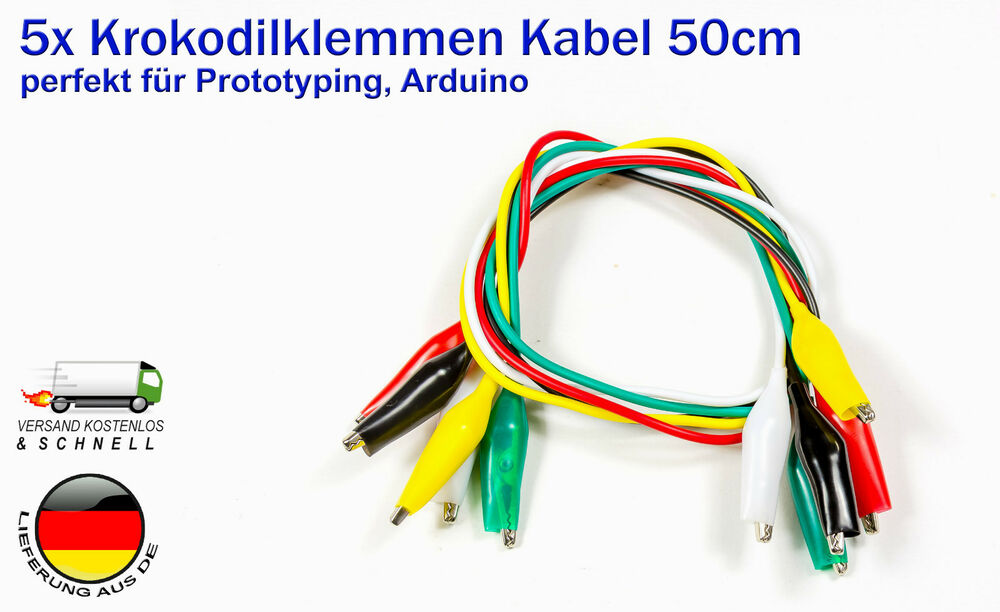 5x krokodilklemmen kabel 50cm alligator clips f r arduino raspberry pi basteln ebay. Black Bedroom Furniture Sets. Home Design Ideas