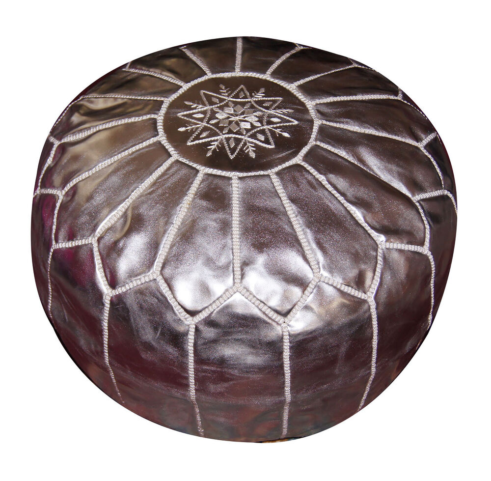 leather pouf carved moroccan pooff pouff hassack middle east ottoman foot stoul ebay. Black Bedroom Furniture Sets. Home Design Ideas