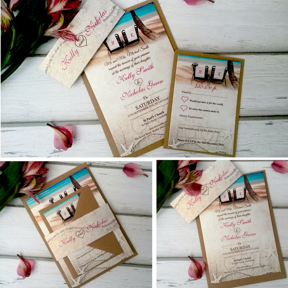 Wedding Abroad Invitation Wording Ideas: Beach Wedding Day Evening Invitations Invites Personalised