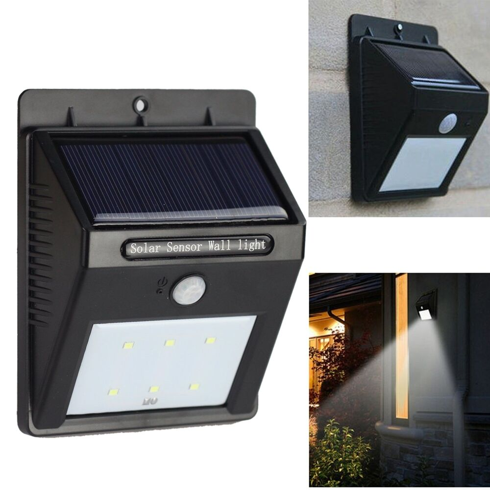 Frostfire Solar Wall Light With Pir Motion Sensor : 6 LED Solar PIR Motion Sensor + CDS Night Sensor Outdoor Waterproof Wall Light eBay
