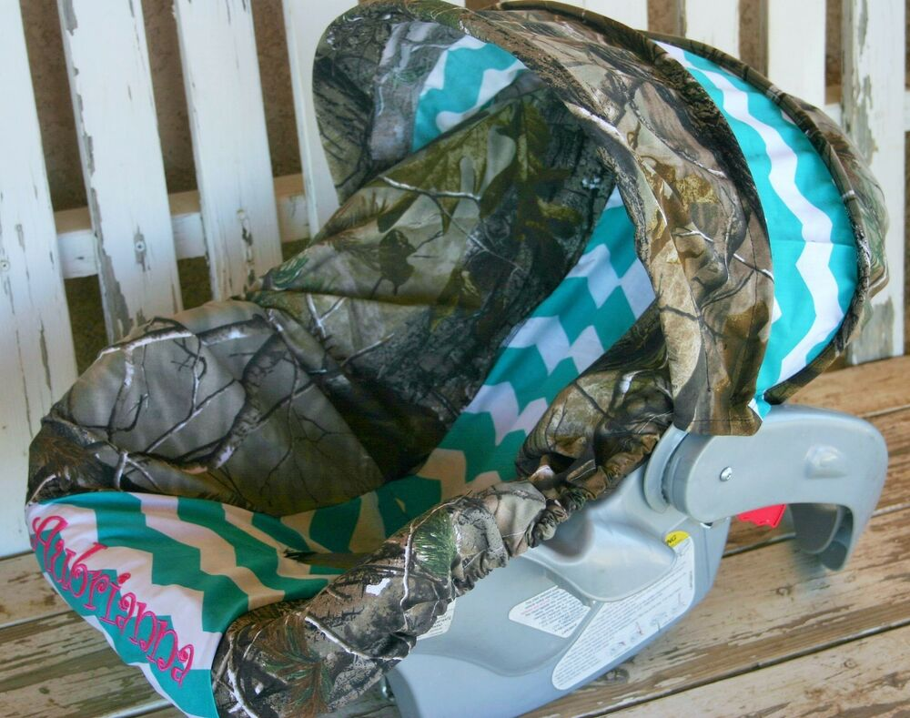 realtree camo and teal chevron infant car seat cover hood cover w embroidery ebay. Black Bedroom Furniture Sets. Home Design Ideas