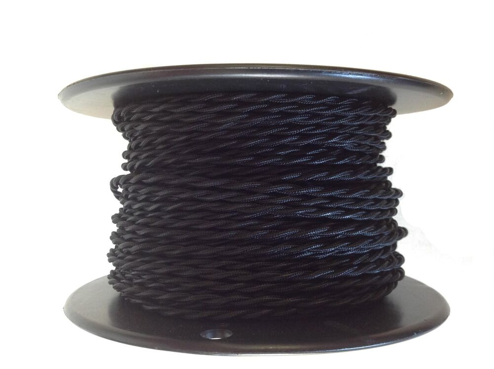 black twisted rayon covered wire antique style cloth lamp cord. Black Bedroom Furniture Sets. Home Design Ideas