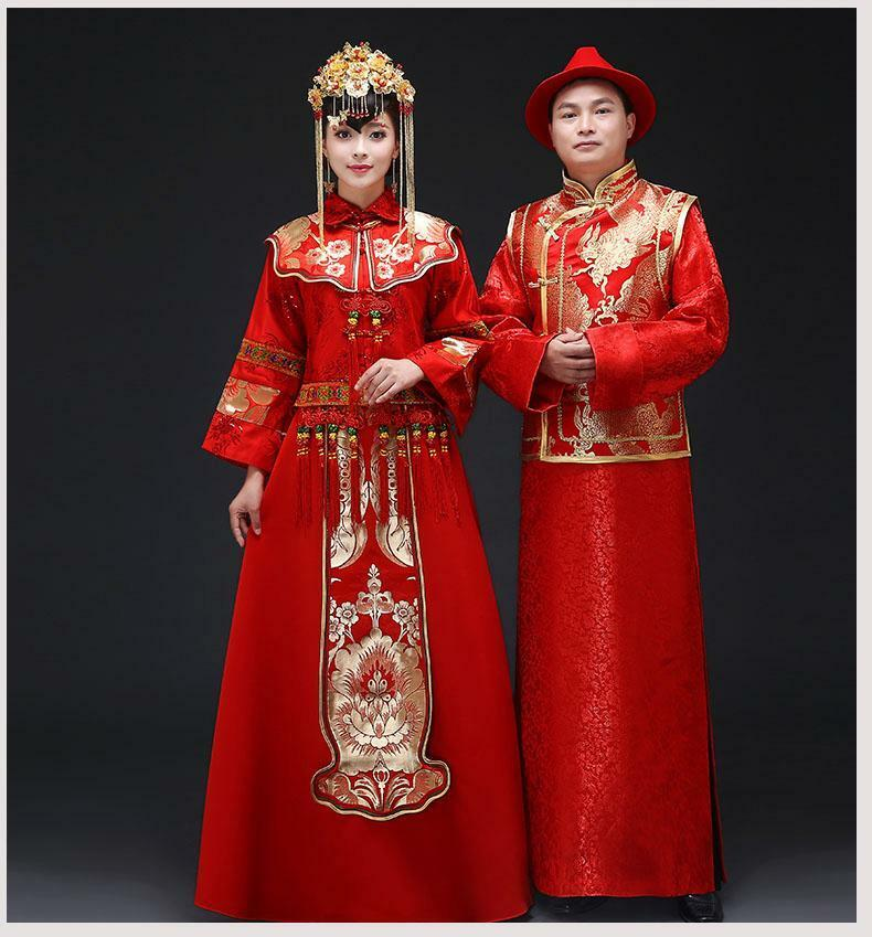 Chinese Wedding Gift For Groom : Chinese Style tang suit Bride/groom embroidery cheongsam wedding dress ...