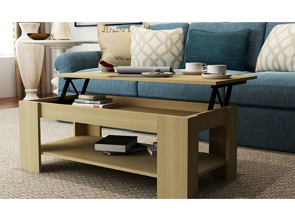 new caspian oak lift up top coffee table with storage shelf ebay. Black Bedroom Furniture Sets. Home Design Ideas