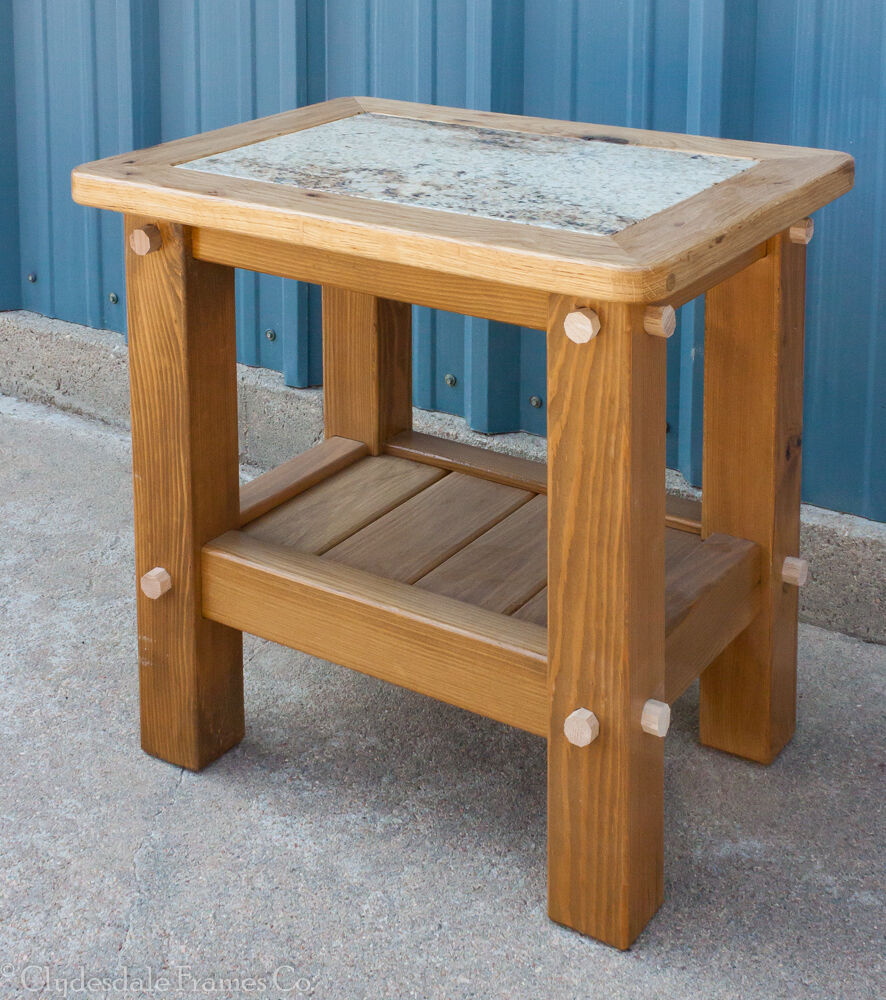 24 Quot X 18 Quot X 24 Rustic Timber End Table Granite Inlay