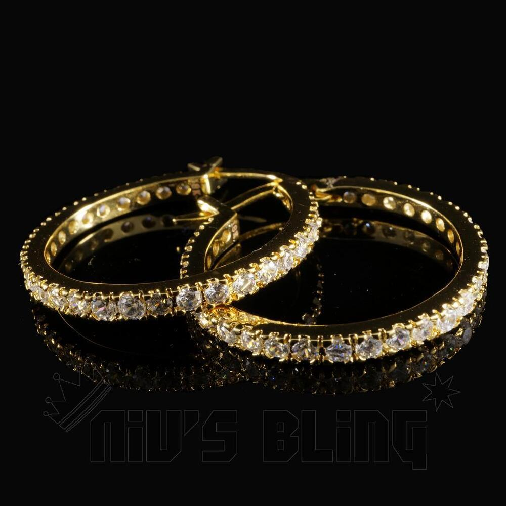 Hip Hop Earrings: 18K Gold ICED OUT AAA Simulate Diamond Micropave Huggie