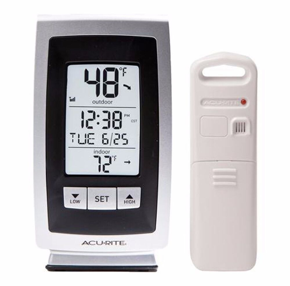 acurite digital weather thermometer home clock indoor. Black Bedroom Furniture Sets. Home Design Ideas