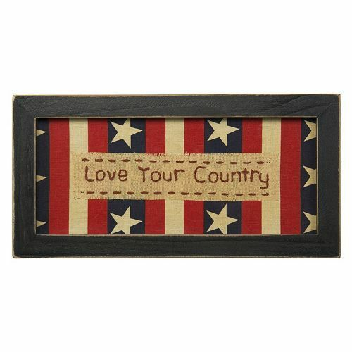 Americana Wall Decor Plaques Signs: LOVE YOUR COUNTRY USA Patriotic, Rustic Primitive Stars