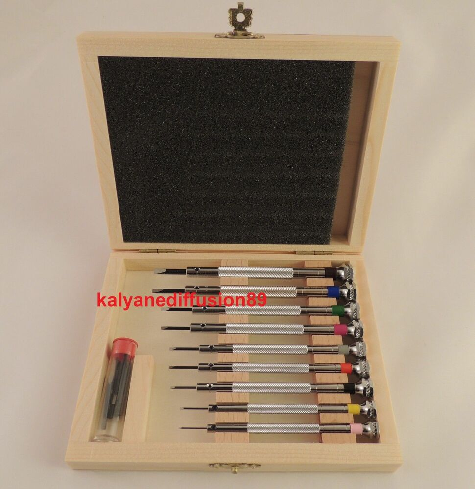 beco technic set of 9 watchmaker screwdrivers in wooden box spare blades ebay. Black Bedroom Furniture Sets. Home Design Ideas