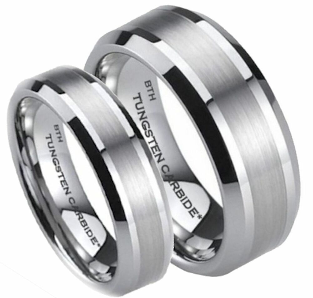 His and hers tungsten carbide scratch proof wedding for Tungsten carbide wedding ring sets
