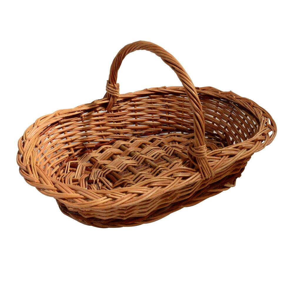 wicker basket with handle traditional storage willow hamper display 3 sizes ebay. Black Bedroom Furniture Sets. Home Design Ideas