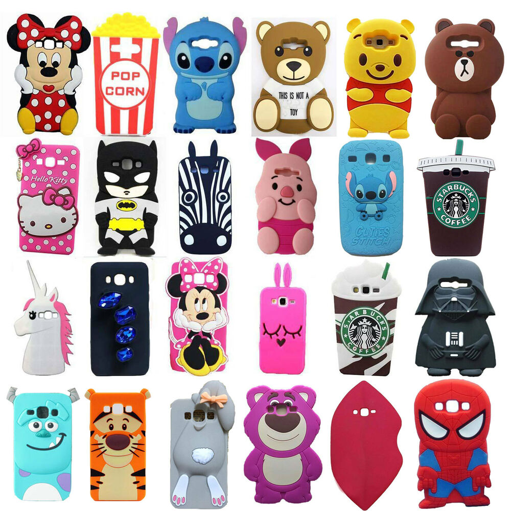 New 3d cute cartoon soft silicone back cover case for for 3d decoration for phone cases