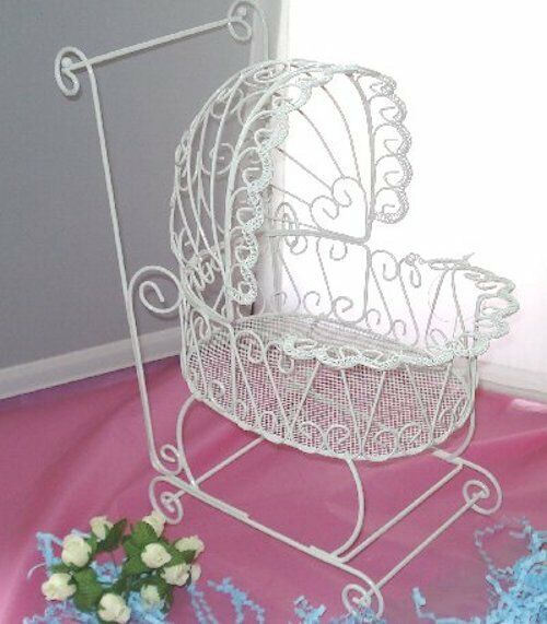 Wire baby carriage for baby shower or christening for Baby carriage decoration