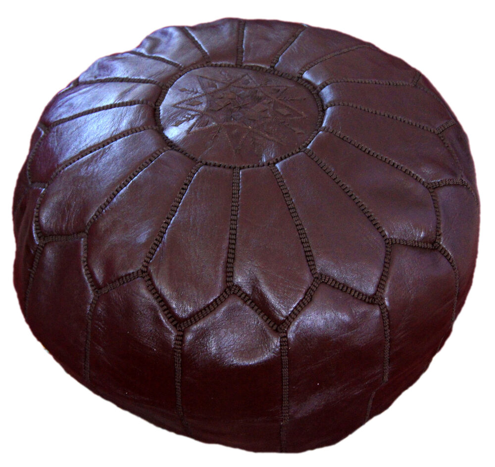 leather pouf pooff moroccan pouff hassack middle east ottoman foot stoul stool ebay. Black Bedroom Furniture Sets. Home Design Ideas