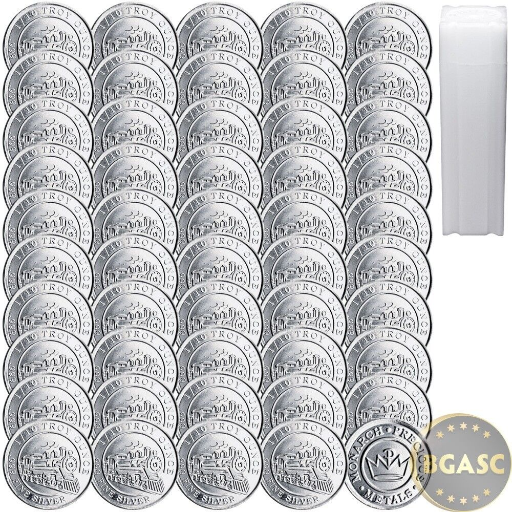 Tube Of 50 New 1 10 Oz Silver Rounds Mpm Train Design 999