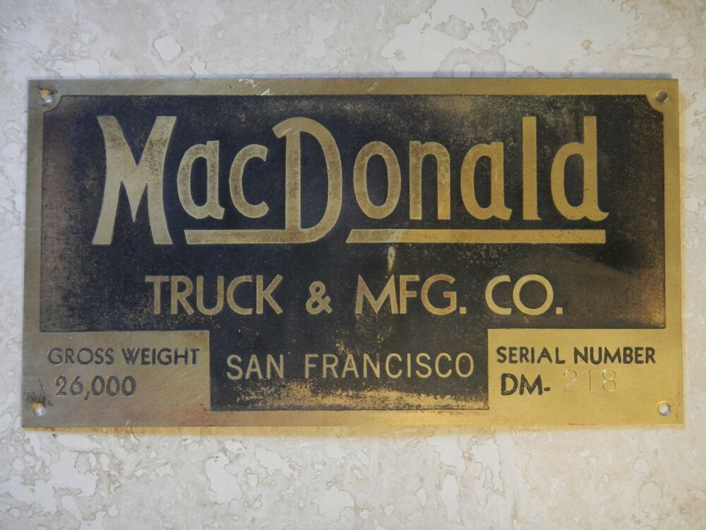 Macdonald truck mfg co brass truck emblem badge script for Classic house name plates