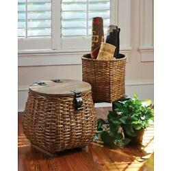 HANDCRAFTED HANDWOVEN RATTAN COVERED BASKET & PLANTER--Set OF 2 BY PARK DESIGNS
