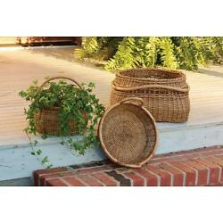HANDWOVEN ARTISAN BASKETS WITH RATTAN POLE HANDLES -SET OF 3 By PARK DESIGNS
