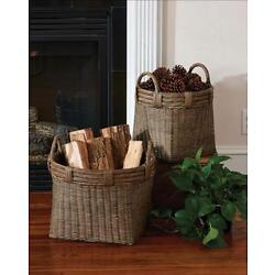 HANDWOVEN HANDCRAFTED ROUND BASKETS With HANDLES- -SET OF 2. BY PARK DESIGNS