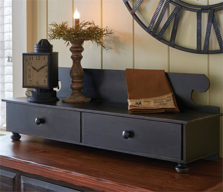 PRIMITIVE DISTRESSED WOOD COUNTER SHELF In AGED BLACK BY