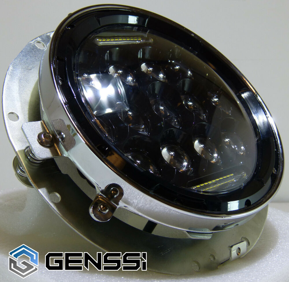 genssi 7 inch motorcycle 75w led headlight low high beam. Black Bedroom Furniture Sets. Home Design Ideas