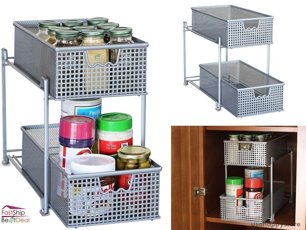kitchen cabinet racks and storage organizers storage basket organizer sliding drawer kitchen 19374