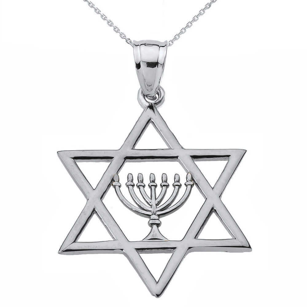 Fine 925 sterling silver star of david with menorah for Star of david jewelry wholesale