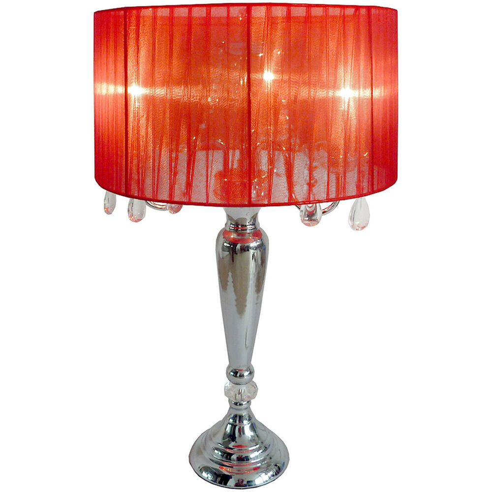 Table Lamp 27 Hanging Crystals Red Shade Chrome 3 Lights