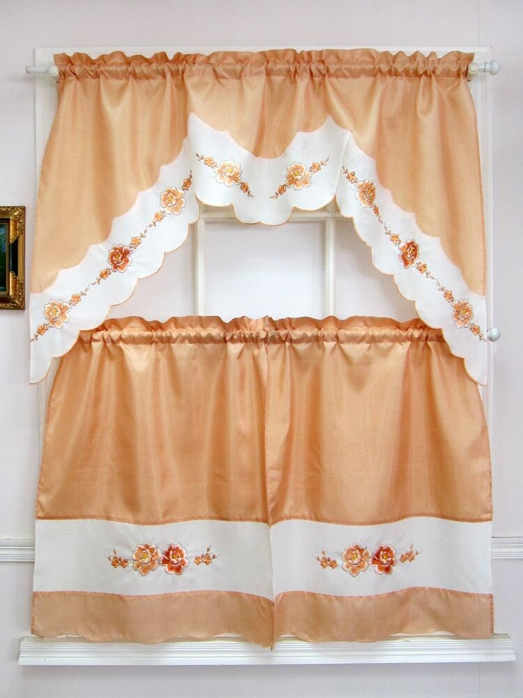 peach colored kitchen curtains modern embroidery 3pcs kitchen curtain set 4113