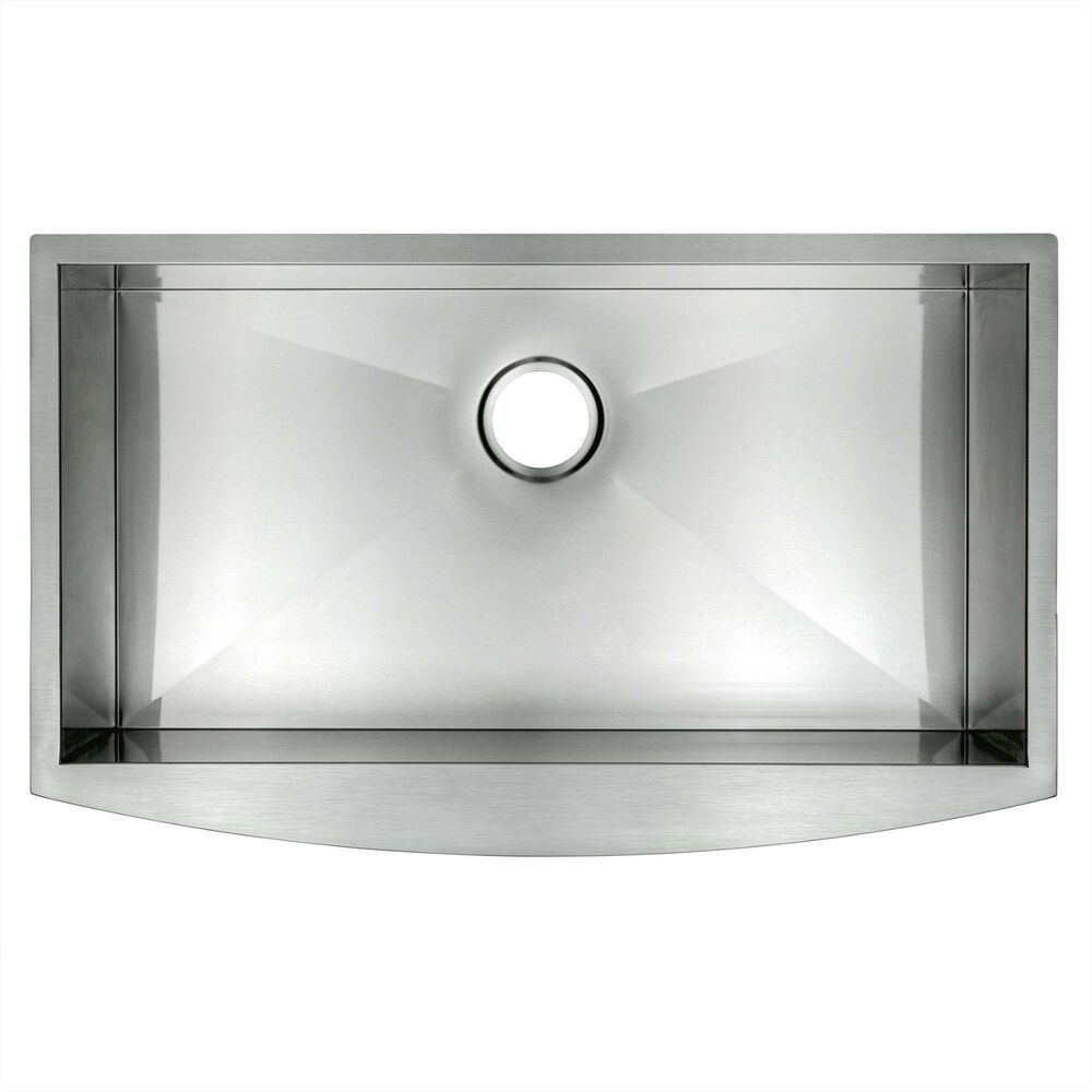33 undermount apron single bowl 16 gauge stainless steel for Best quality stainless steel kitchen sinks
