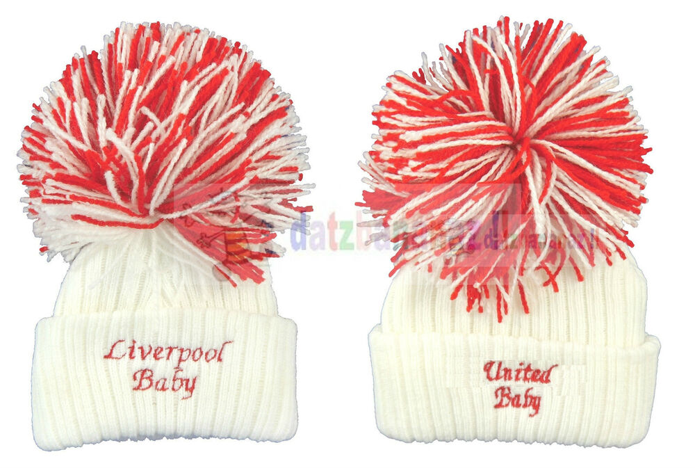 77f7db44727 United City Liverpool Knitted Baby Football Hat Big Wooly Bobble Made in  England