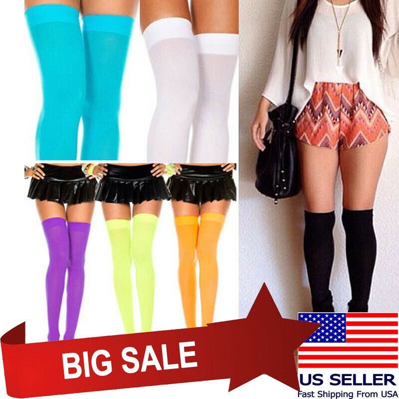 6f969171bac94 Details about Opaque Thigh High Stockings Pastel & Neon Colors Rave  Halloween Witch Costume US