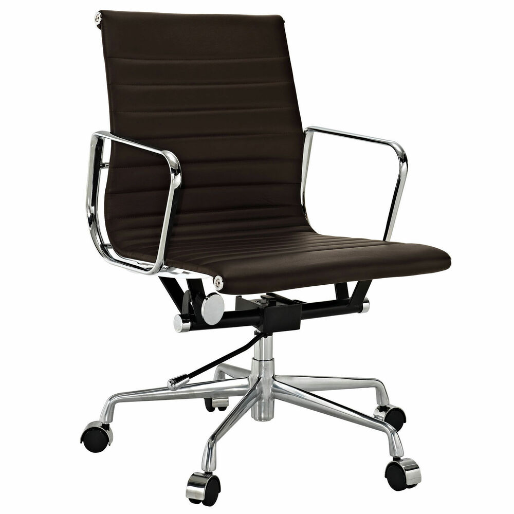 emod eames style office chair aluminum group reproduction brown leather ebay. Black Bedroom Furniture Sets. Home Design Ideas