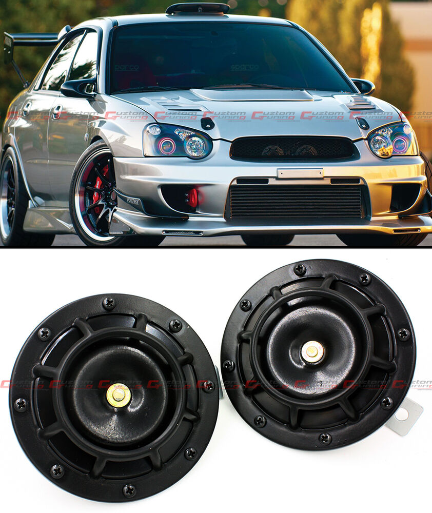 2 X BLACK GRILL MOUNT COMPACT SUPER LOUD HORNS FOR MITSUBISHI EVO LANCER 7 8 9 X | eBay