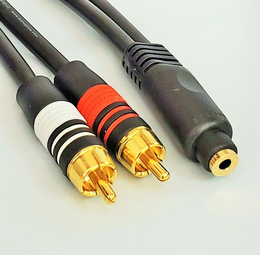 2 Rca Male To 1 X 3 5mm Stereo Female Y Cable 6 Inch Ebay