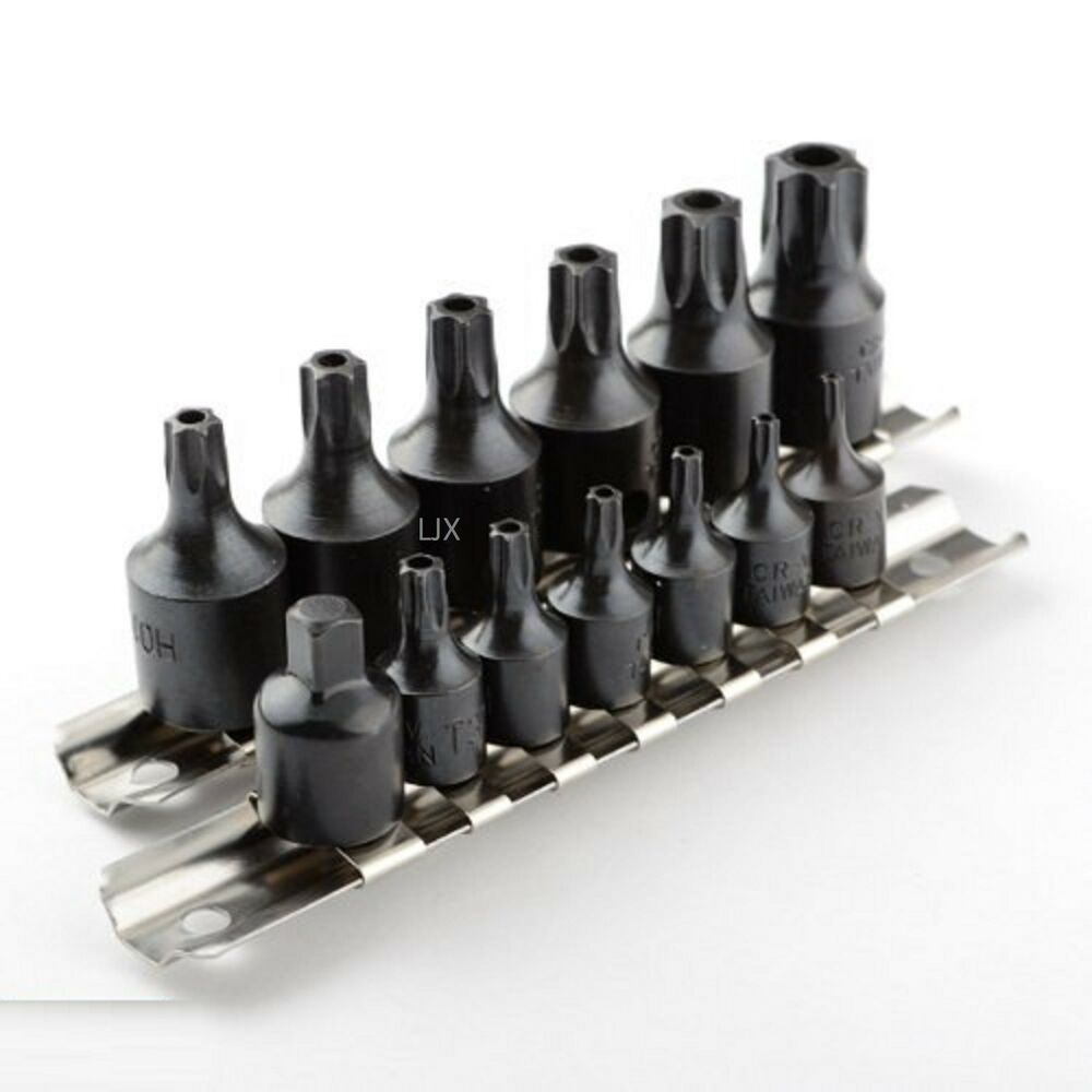 15 pc impact tamper proof star bit socket torx set seat belt kit 1 4 3 8 dr ebay. Black Bedroom Furniture Sets. Home Design Ideas