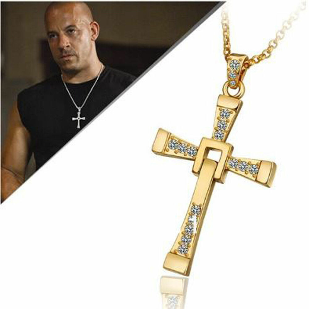 Vin Diesel Cross Necklace: Gold Cross Crystal Pendant Chain The Fast And Furious