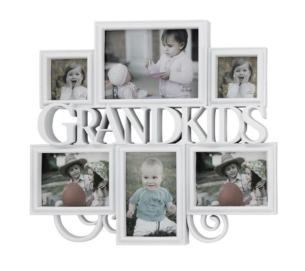BIG White 6 pcs Grandkids Photo Picture Frame Set Home wall Display ...