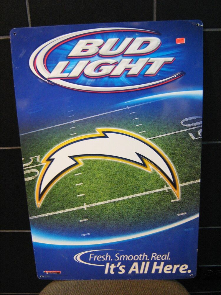 San Diego Chargers Nfl Bud Light Original Beer Sign Ebay