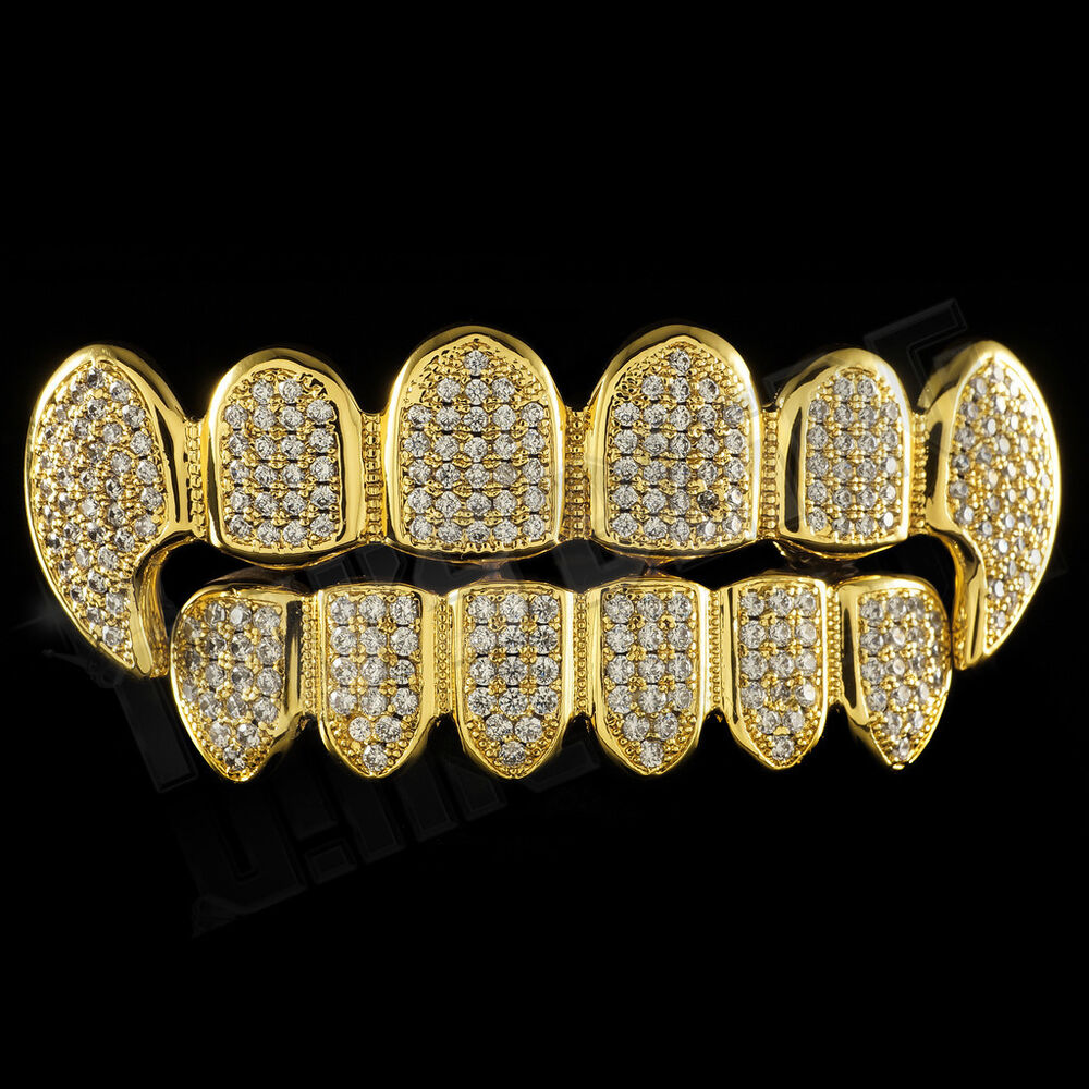 18K Gold Plated CZ Vampire Dracula Fangs Top Bottom GRILLZ ...