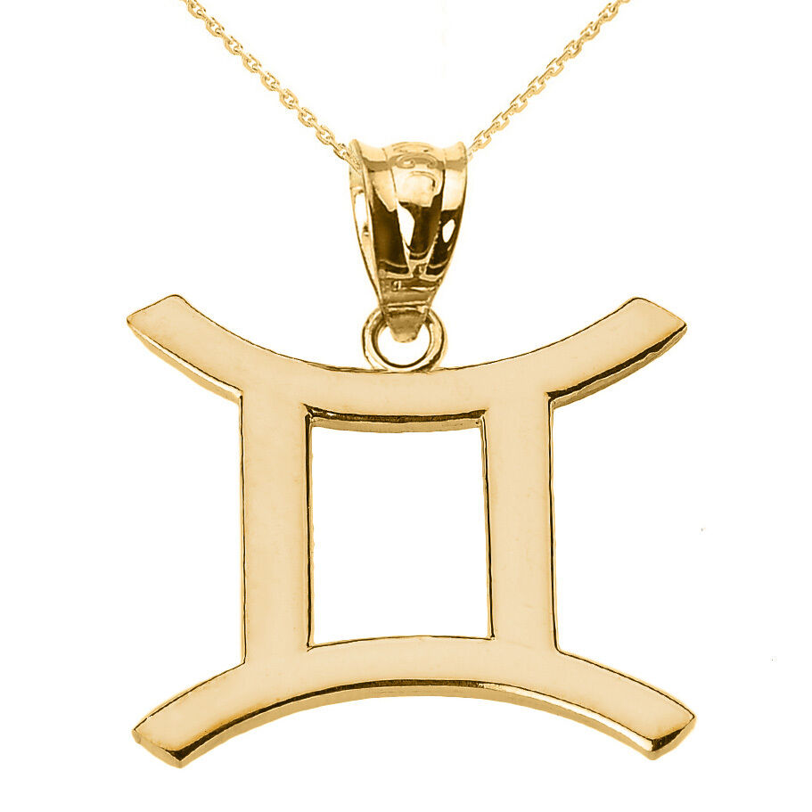Fine 10k yellow gold gemini june zodiac sign horoscope for 10k gold jewelry