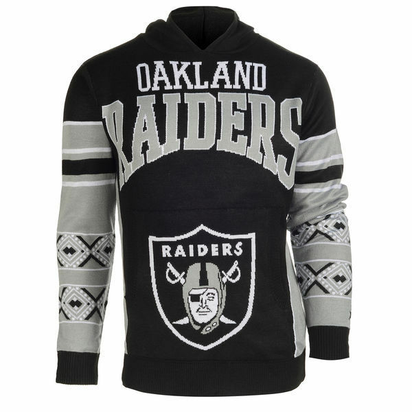 Forever Collectibles Nfl Oakland Raiders Big Logo Ugly Sweater
