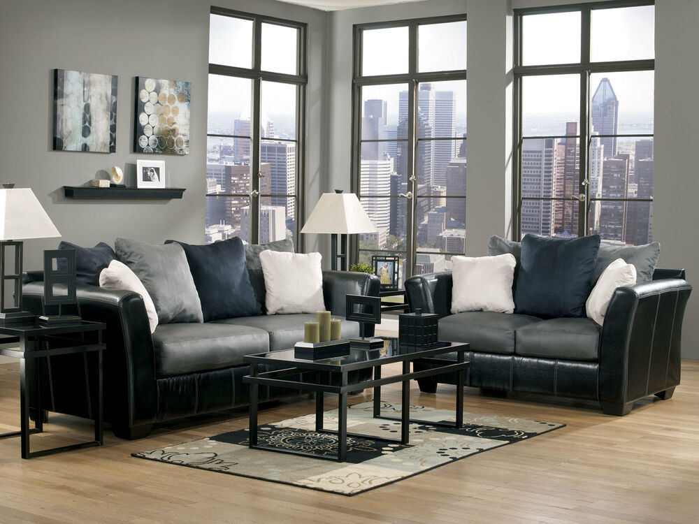Courtney contemporary faux leather fabric sofa couch set for Faux leather living room furniture