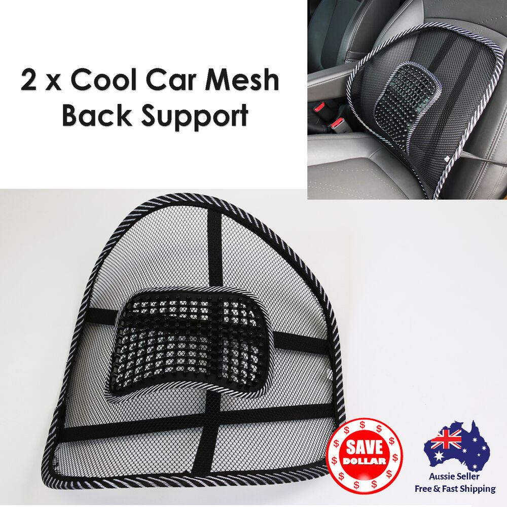 2 X Mesh Back Lumbar Support Car Seat Office Chair Truck Cushion Massager Hom